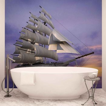 Sailing Ship Sunset Wallpaper Mural