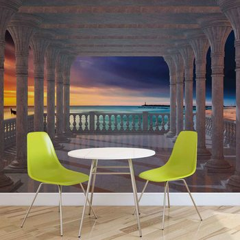 Sea View Through The Arches Wallpaper Mural