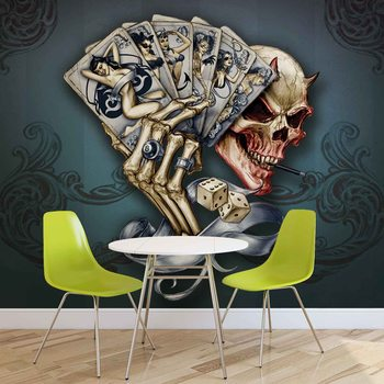 Skull Dice Cards Wallpaper Mural