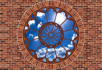 Sky Ornamental Window View Brick Wall Wallpaper Mural