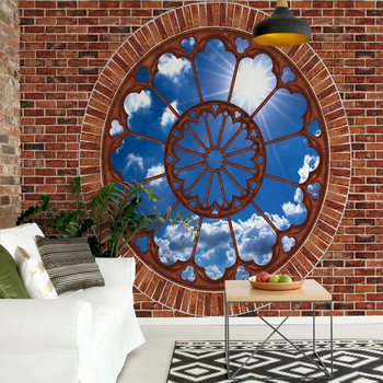 Sky Ornamental Window View Brick Wall Wallpaper Mural
