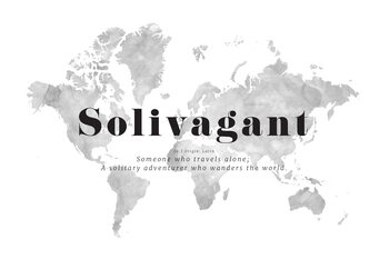 Solivagant definition world map Wallpaper Mural