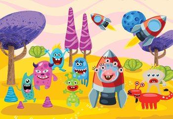 Space Monsters Wallpaper Mural