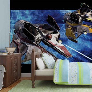 Star Wars Obi Anakin Jedi Starfighters Wallpaper Mural