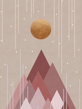 Wallpaper Mural Sun & Mountains Coral Pink