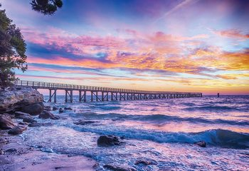 Sunset Beach Pier Wallpaper Mural