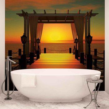 Sunset Paradise Beach Wallpaper Mural