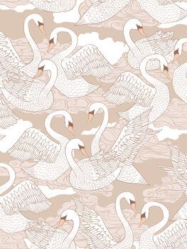 Wallpaper Mural Swans - Cotton