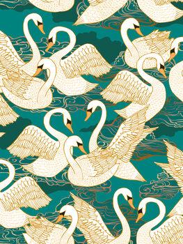 Wallpaper Mural Swans - Turquoise