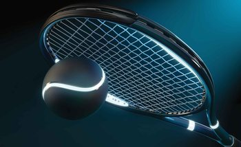Tennis Racket Ball Neon Wallpaper Mural