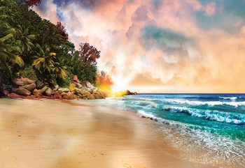 Tropical Beach Sunset Wallpaper Mural