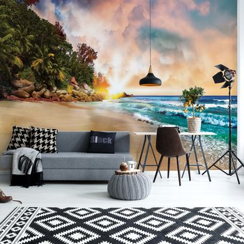 Tropical Beach Sunset Wallpaper Mural