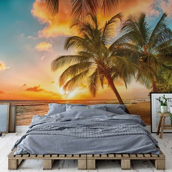 Tropical Beach Sunset Palm Trees Wallpaper Mural