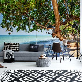 Tropical Island Beach Swing Wallpaper Mural