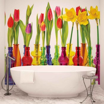 Tulips in Bottles Wallpaper Mural