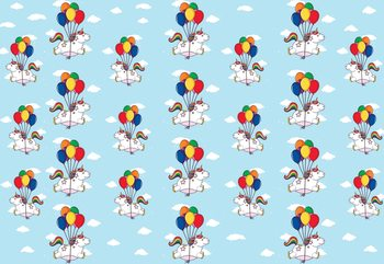Unicorns And Balloons Pattern Blue Wallpaper Mural