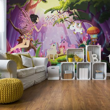 Unicorns And Fairies In The Forest Wallpaper Mural