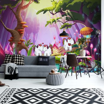 Unicorns In The Forest Wallpaper Mural