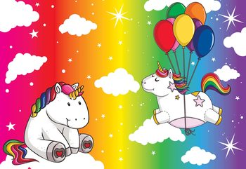 Unicorns Rainbow Wallpaper Mural