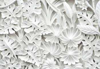 Vintage 3D Carved Flowers White Wallpaper Mural