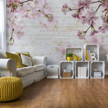 Vintage Chic Cherry Blossom Wood Planks Wallpaper Mural