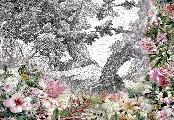 Vintage Floral Design Wallpaper Mural