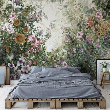 Vintage Floral Painting Wallpaper Mural