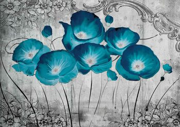 Vintage Flowers Blue Grey Wallpaper Mural