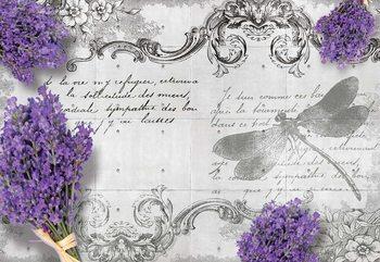 Vintage Lavender And Dragonfly Design Wallpaper Mural