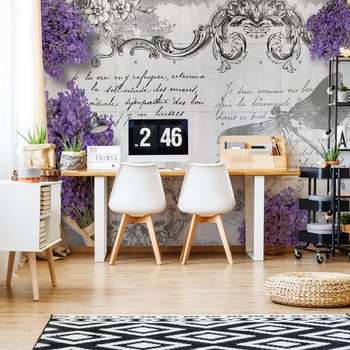 Vintage Lavender And Dragonfly Design Wallpaper Mural