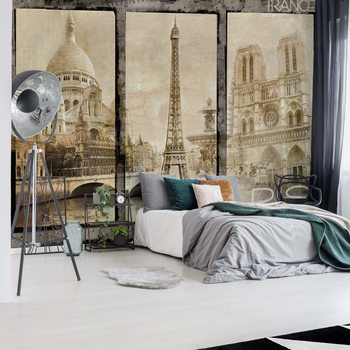 Vintage Paris Tryptich Wallpaper Mural