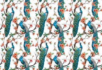 Vintage Peacock Pattern Wallpaper Mural
