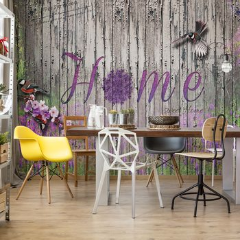 Vintage Wood Planks Design Lavender Home Wallpaper Mural