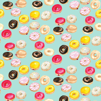 Watercolor donuts in mint Wallpaper Mural