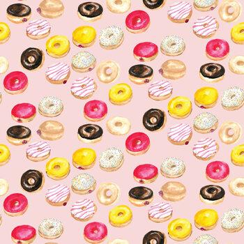 Watercolor donuts in pink Wallpaper Mural