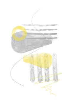 Wallpaper Mural Watercolor Shapes No. 3 | Illuminating Yellow & Ultimate Grey
