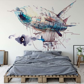 Watercolour Airship Wallpaper Mural