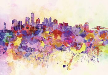 Watercolour City Skyline Wallpaper Mural