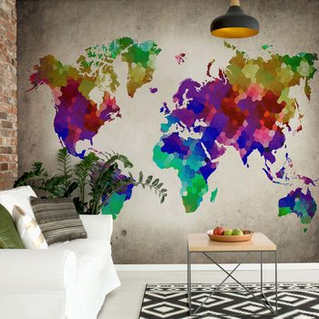 Watercolour World Map Wallpaper Mural