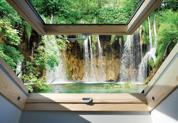 Waterfall 3D Skylight Window View Wallpaper Mural