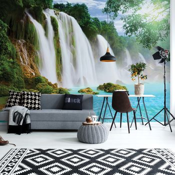 Waterfall Lake Wallpaper Mural
