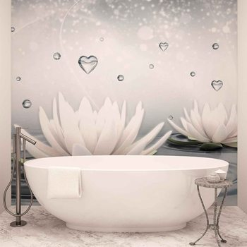 White Lotus Drops Hearts Water Wallpaper Mural