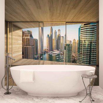 Window Dubai City Skyline Marina Wallpaper Mural