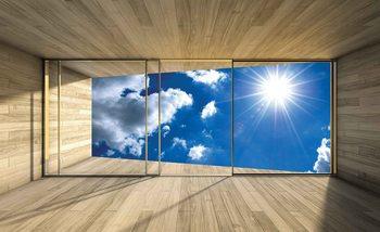 Window Sky Clouds Sun Nature Wallpaper Mural