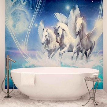 Winged Horse Pegasus Blue Wallpaper Mural