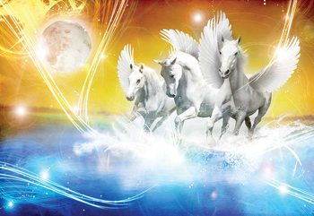 Winged Horses Pegasus Yellow And Blue Wallpaper Mural