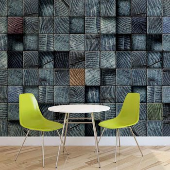 Wood Blocks Texture Dark Grey Wallpaper Mural