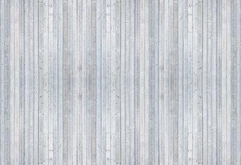 Wood Planks Light Grey Wallpaper Mural