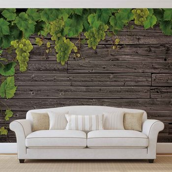 Wooden Wall Grapes Wallpaper Mural