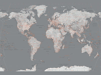 World Map - Silver and Orange Wallpaper Mural